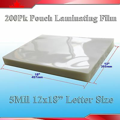 "200Pk 5Mil 18x12"" Large Size UV Clear Laminating Pouch Film for Thermal Lamintor"