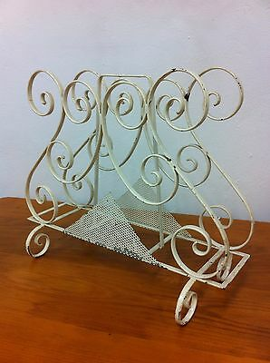 VINTAGE RETRO DECORATIVE WROUGHT IRON METAL SCROLLS MAGAZINE RACK 1950s MELB