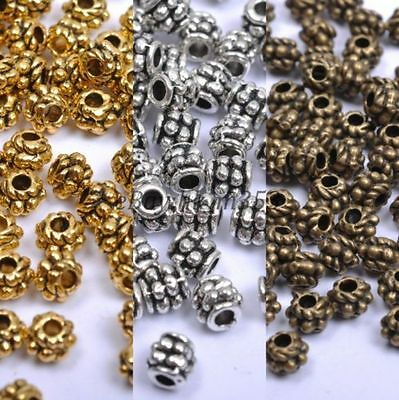 Tibetan Silver Gold, Bronze, Spacer Charms Beads For Jewellry 4MM NS1028