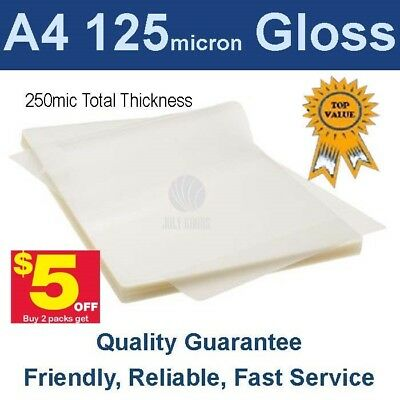 A4 Laminating Pouches Film 125 Micron Gloss (PK 100) - Buy 2 packs get $5 off