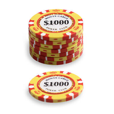 $1000 x 50 Monte Carlo Chips 14g Poker Game Set Gambling Casino Pick Any Combo