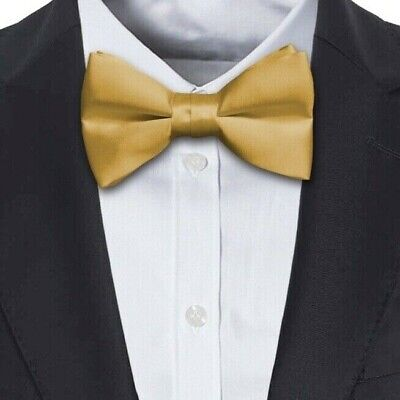 Italian Satin Gold Mens Dickie Bow Tie Hand Made in UK (Adjustable band)