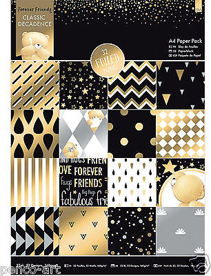 Papermania A4 paper 32pk Forever Friends Classic Decadence papers part gold foil