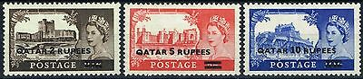 Qatar 1957 set of 3 Castles SG13a-15a Type II Fine Lightly Mtd Mint