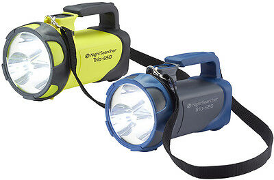 Nightsearcher TRIO 550 Rechargeable LED Flashlight Torch (Yel or Grey) Hand Lamp