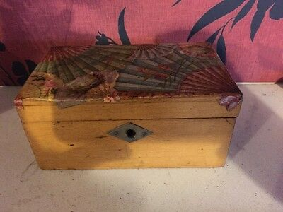 Lovely Vintage Wooden Storage Box With Decoration