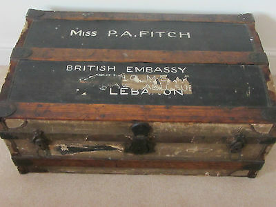 Vintage Antique travel chest / steamer trunk - possible coffee table