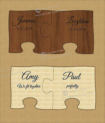 Personalised Mr & Mrs Couple's Wood Puzzle Coasters, Valentine, Wedding, Gift