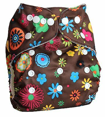 Ninja Baby Organic Bamboo Cloth Diaper with Bamboo Insert (AI2) - Floral Brown