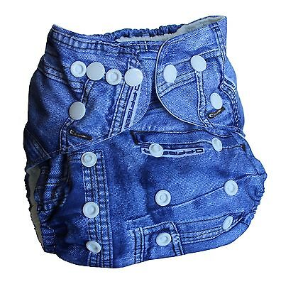Ninja Baby Organic Bamboo Cloth Diaper with Bamboo Insert (AI2) - Denim Blue