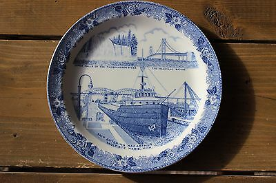 Vintage Old English Staffordshire Northern Michigan Scenic Wonderland Plate Ship