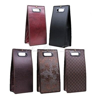Foldable PU Leather Wine Bottle Carrier Picnic Business Tote Gift Bag Pouch