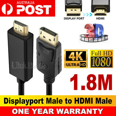 1.8M Displayport Display Port DP to HDMI Cable Male to Male Full HD High Speed