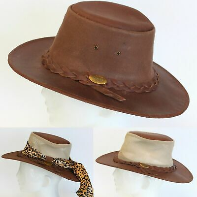NEW Mens Womens Australian Aussie Outback Bush Hat Leather Akubra Style Indiana