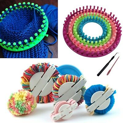 Knitting Knitter Looms Ring Set + Pompom Maker Craft Kit Sock Scarf Hat - Round