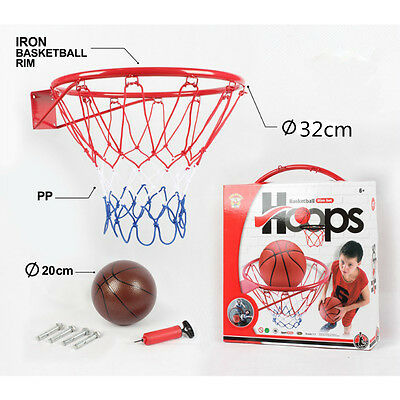 32cm Classic Iron Basketball Rim Orange  with a Basketball for Kids Practise