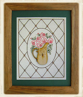 JUG OF ROSES || Stitchery Pattern & Button || UP iN ANNiE'S ROOM!