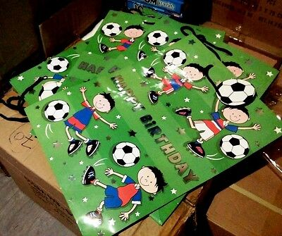 10 x Wholesale Joblot Large Kids Football Birthday Celebrate Party Gift Bags