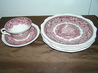 Mason's Vista Red Lot of 5 Salad Plates and one Cup with Saucer.