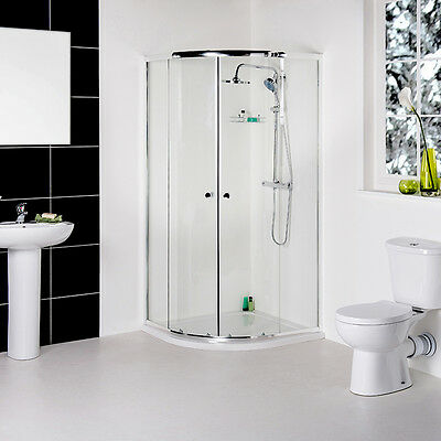 New Modern 900mm Quadrant Shower Enclosure Bathroom Suite with Toilet+Basin