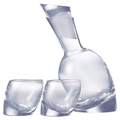 Nambe Crystal TILT Decanter w/ 2 DOF Double Old Fashioned Glasses Set - NEW/BOX!