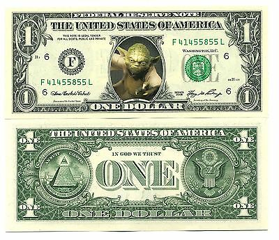 MAITRE YODA VRAI BILLET de COLLECTION 1 DOLLAR US ! STAR WARS Collector