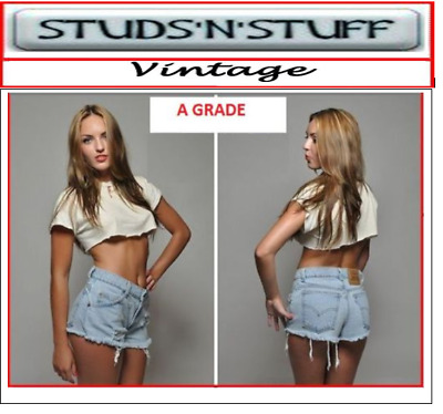 Vintage Womans Levis High Waisted Denim Cut Off Shorts Jeans Hotpants 4 6 8 10 -