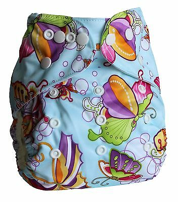 Ninja Baby Organic Bamboo Cloth Diaper with Bamboo Insert (AI2) - Butterfly Blue