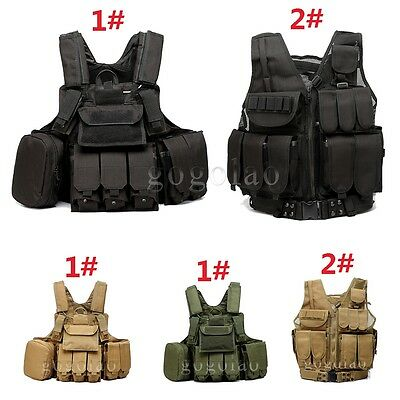 Tactical Airsoft Paintball Hunting Combat Vest Holster Pouch Multi-pocket