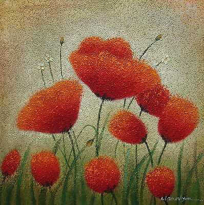 """A Colorful Oil Painting of Beautiful Red Flowers Swaying In the Wind 24""""x24"""""""