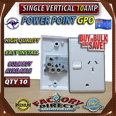 10x Single 10AMP Power Point GPO Vertical Electrical Switch Socket Bulk Bulk