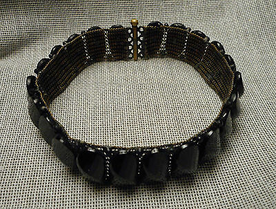 Antique Victorian Mourning Bracelet - Faceted Black Jet Glass on Flexible Mesh