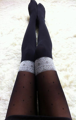 Women Fancy Fake Thigh High Over knees Black Pantyhose Tights Stockings Opaques