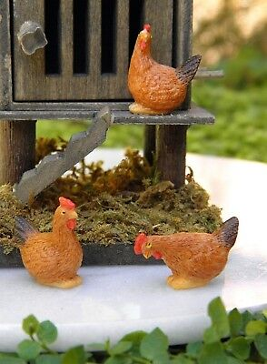 """Miniature Dollhouse FAIRY GARDEN ~ Set of 3 TINY ½"""" Scale ~ Brown Hen Chickens"""