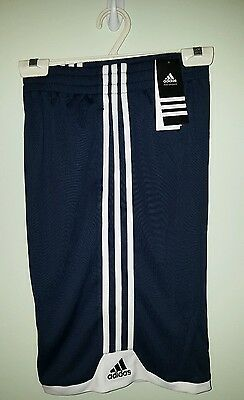 NWT $22 Adidas Boys XL (18) Athletic Shorts NAVY BLUE & WHITE Gym Sports 320116