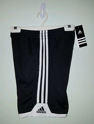 NWT $22 Adidas Boys SMALL (8) Athletic Shorts BLACK WHITE Gym Sports NEW 320116