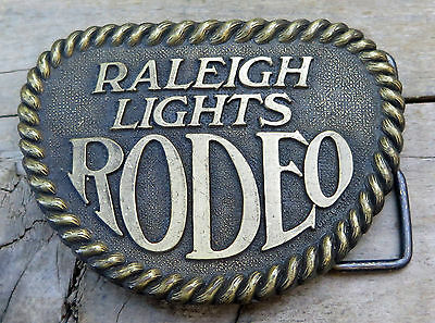 Raleigh Lights Rodeo Cigarettes Tobacco Western 1980's Vintage Belt Buckle