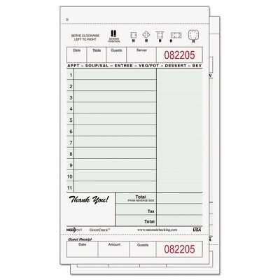 Carbonless Two-Part Guest Check, 4 1/5 x 7 1/4, Green/White, 11 Lines