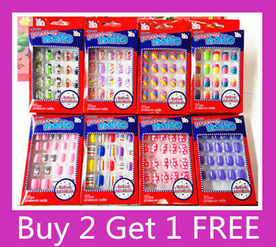 Buy 2 Get 1 Free!  20/24  Kids/Girls Acrylic Fake Nail Tips With Press On Glue