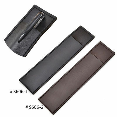Black Coffee Leather Pen Case Pencil Bag Pouch Holder Storage Bags Gift New 1 Pc