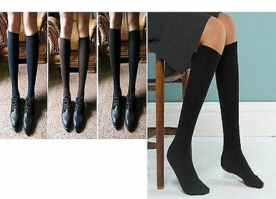 6 Pairs Womens Ladies Girls School High Knee Cotton Plain Long Socks Size 4-7