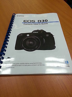 Canon  Eos D30 Full User Guide Instruction Manual  Printed 152 Pages A5