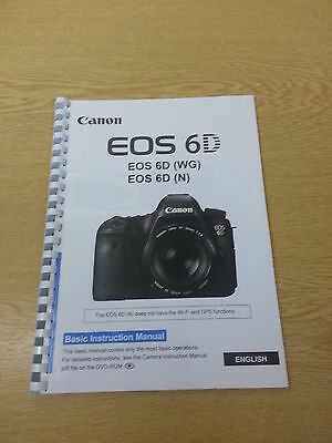 Canon  Eos 6D Basic Instruction Manual User Guide  Printed 144 Pages A5