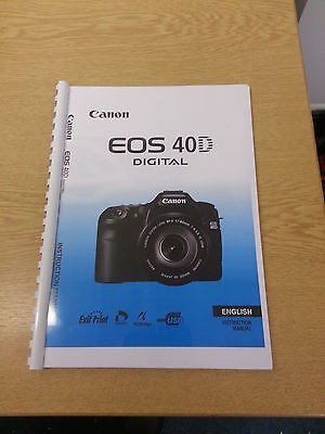 Canon  Eos 40D Full User Manual Guide Instructions  Printed 196 Pages A5