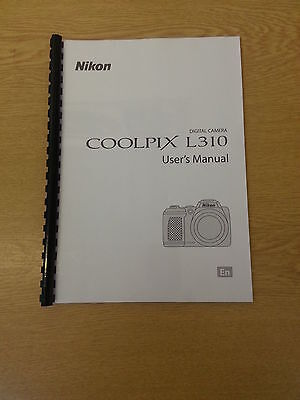 Nikon Coolpix L310 Camera  Printed User Guide Instruction Manual 164 Pages A5