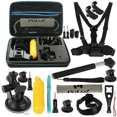 Gopro Hero 5 4 3+ 3 2 Puluz 20 In 1 Combo Accessory Mount Kit Hard Case Session