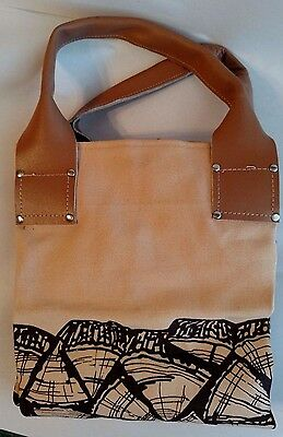 """Firewood Log Carrier House Warming Canvas Leather Handles Fireplace 20"""" High"""