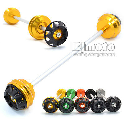 CNC Motorcycle Front Axle Sliders Gold For Kawasaki Z1000 Z800 2013 2014 2015
