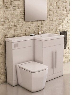 L Shaped Furniture Pack Vanity & WC Unit Combined with 1 Piece Top White Gloss