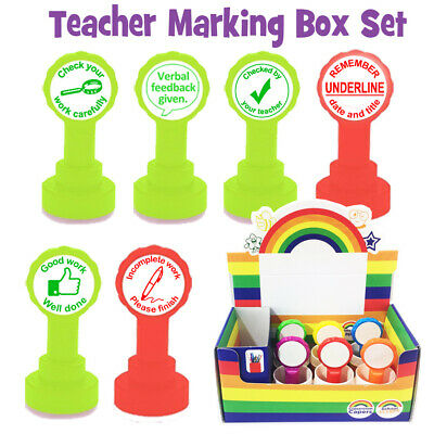 Teacher Marking Stamp Box Set- Underline.. / Checked by.. / Verbal feedback ....